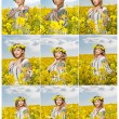 Young girl wearing Romanian traditional blouse posing in canola field with cloudy sky in background, outdoor shot. Portrait of beautiful blonde with flowers wreath smiling in rapeseed field — Stock Photo #73918511