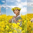 Young girl wearing Romanian traditional blouse posing in canola field with cloudy sky in background, outdoor shot. Portrait of beautiful blonde with flowers wreath smiling in rapeseed field — Stock Photo #73918515