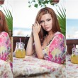 Attractive red hair young woman with bright colored blouse drinking lemonade on a terrace having blue sea in background. Gorgeous redhead model drinking fresh drink with straw in a summer day — Stock Photo #75947757
