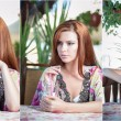 Attractive red hair young woman with bright colored blouse drinking lemonade on a terrace having blue sea in background. Gorgeous redhead model drinking fresh drink with straw in a summer day — Stock Photo #75947761