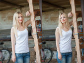 Shot of beautiful girl near an old wooden fence. Stylish look wear: white basic top, denim jeans. Country style farmer. Beautiful long hair blonde in rustic style — Stock Photo