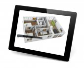 Designing a house on a tablet pc — ストック写真