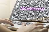 Crowdfunding text on a screen — Foto de Stock