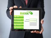 Homme d'affaires avec la demande de la Banque — Photo
