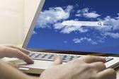 Man using a laptop — Stock Photo