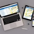 Open laptop with digital tablet and smartphone — Stock Photo #79227728