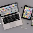 Open laptop with digital tablet and smartphone — Stock Photo #79228104
