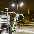 Bicycle hanging on the fence in winter — Stock Photo #63940837