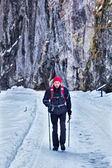 Hiker on snowy road — Stock Photo