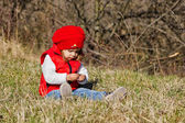 Little girl discovering nature — Stock Photo