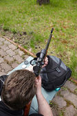 Rifle shooting with optical sight — Foto Stock