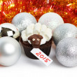 Cake lamb with silver Christmas balls and tinsel as simbol 2015 — Stock Photo #58265733