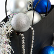 Christmas balls and tinsel in gift bag symbol of New Year isolat — Stock Photo #58267419