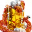 Christmas balls and tinsel in gift bag New Year isolated — Stock Photo #58267501