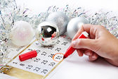 Christmas calendar and prepare for the New Year — Stock Photo