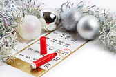 Christmas calendar and prepare for New Year your text — Stock Photo