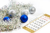 Christmas calendar and prepare for the New Year isolated — Stock Photo