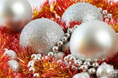 Christmas balls and tinsel of New Year — Stock Photo