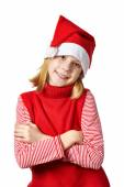 Beautiful girl in red Santa hat isolated — Stock Photo