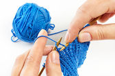 Knitting with two spokes isolated — Foto de Stock