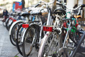 Beautiful bikes on streets of city — Stock Photo