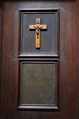 Door of room in church for confession — Stock Photo