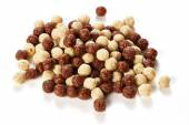 Crunchy chocolate balls on white background — Stock Photo
