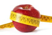 Apple and measuring tape isolated — Stock Photo