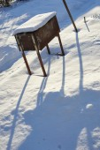 Old rusty grill on a sunny winter day — Стоковое фото