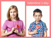 Beautyful girl and boy with lollipop hearts — Stock Photo