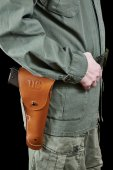 Soldier in uniform and on belt holster with gun — Stock Photo