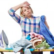 Tired woman housewife ironed clothes isolated — Stock Photo #67783501
