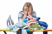 Tired woman housewife ironed clothes isolated — Stock Photo