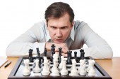 Man playing chess isolated — Stock Photo
