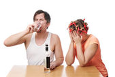 Family scandal because of drunkenness of her husband — Stock Photo