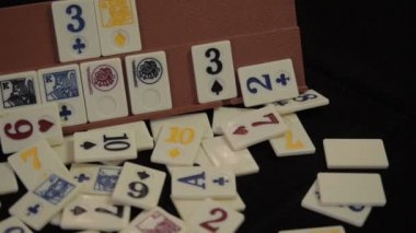 Rummy. Card games. The Player. Excitement. — Stock Video