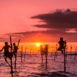 Traditional fishermen on sticks — Stock Photo #78009028