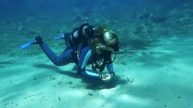 Female Scuba Diver — Stock Video