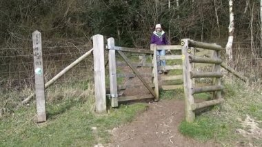 Wooden Kissing Gate — Stock Video