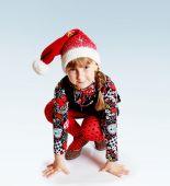 Little girl cap santa claus . — Stock Photo