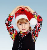 Little girl cap santa claus . — Стоковое фото