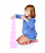 Little girl to school — Stockfoto