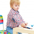 Little boy draws felt-tip pens. — Stock Photo #58484903
