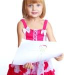 Little girl draws. — Stock Photo #59198739