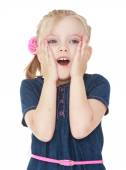 Close-up of a little girl surprised. — Stock Photo
