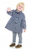 Cute dziewczynka w płaszcz jesień. — Zdjęcie stockowe