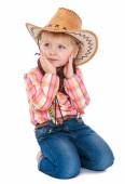 Girl in a cowboy outfit — Stock Photo