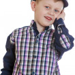 Smiling little boy in a sea cap — Stock Photo #69450715