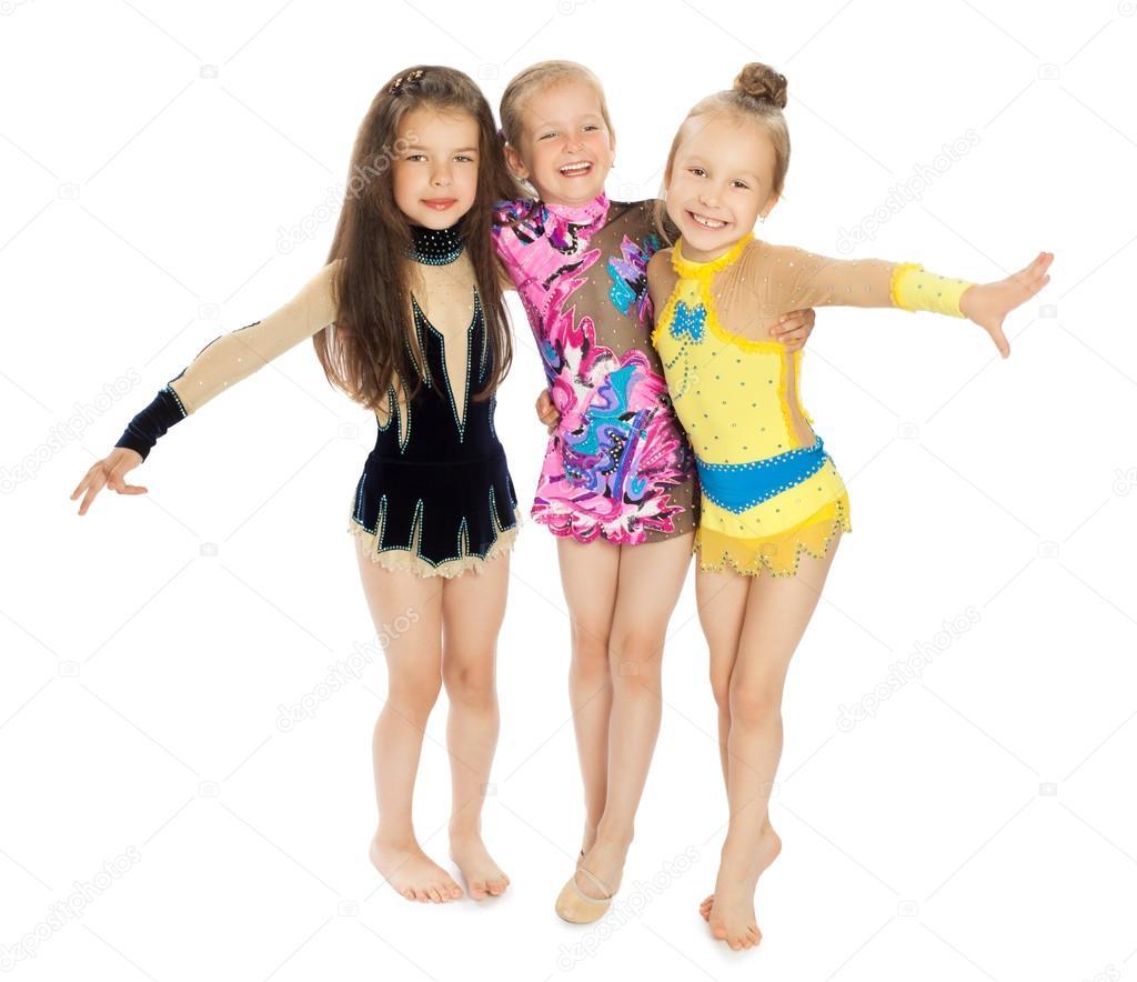 malé dívky Malé dívky gymnastky – Stock obrázek