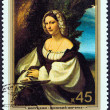 Постер, плакат: USSR CIRCA 1982: A stamp printed in USSR from the Italian Paintings in the Hermitage Museum issue shows Portrait of a Woman Correggio circa 1982